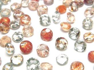 天然石卸 宝石質マルチカラーサンストーンAAA 穴なしラウンドファセットカット6×6mm 10粒1,180円!
