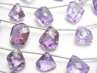 天然石卸 1連2,380円!宝石質アメジストAAA- フリーフォーム ファセットカット 1連(11粒)