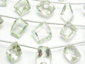 天然石卸 1連1,980円!宝石質グリーンアメジストAAA フリーフォーム ファセットカット 1連(11粒)