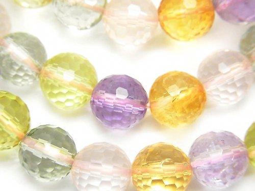 宝石質いろんな天然石AAA- 128面ラウンドカット10mm 1連(ブレス)