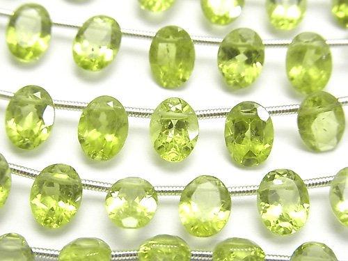 宝石質ペリドットAA++ オーバル ファセットカット8×6×4mm 1連(19粒)
