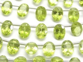 天然石卸 1連2,480円!宝石質ペリドットAA++ オーバル ファセットカット8×6×4mm 1連(21粒)