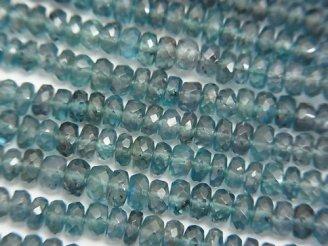 宝石質ディープブルーカイヤナイトAAA ボタンカット 1/4連〜1連(約38cm)