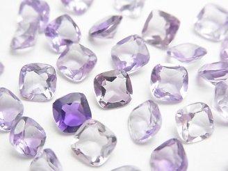 天然石卸 宝石質ピンクアメジストAAA 穴なしスクエアファセットカット6×6mm 10粒880円!