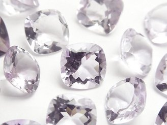 天然石卸 宝石質ピンクアメジストAAA 穴なしスクエアファセットカット12×12mm 3粒1,580円!