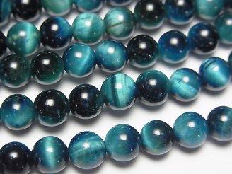 天然石卸 1連580円!ブルーグリーンカラータイガーアイAA++ ラウンド6mm 1連(約37cm)