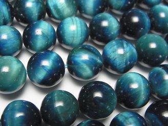 天然石卸 ブルーグリーンカラータイガーアイAA++ ラウンド10mm 半連/1連(約37cm)