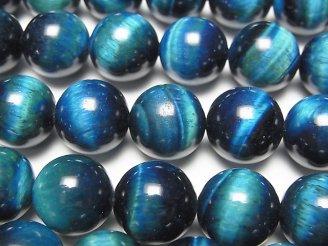 天然石卸 ブルーグリーンカラータイガーアイAA++ ラウンド12mm 半連/1連(約35cm)
