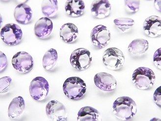 天然石卸 宝石質ピンクアメジストAAA 穴なしブリリアントカット5×5mm 20粒880円!