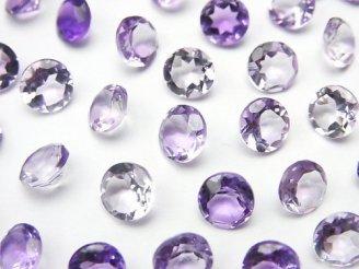 天然石卸 宝石質ピンクアメジストAAA 穴なしブリリアントカット6×6mm 10粒780円!