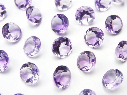 宝石質ピンクアメジストAAA 穴なしラウンドファセットカット7×7mm 10粒