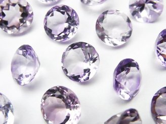 天然石卸 宝石質ピンクアメジストAAA 穴なしラウンドファセットカット10×10mm 5粒1,580円!