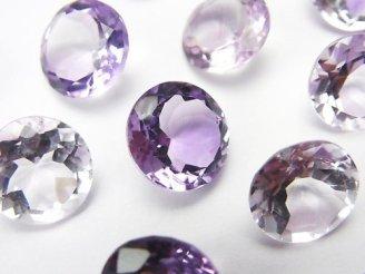 天然石卸 宝石質ピンクアメジストAAA 穴なしブリリアントカット11×11mm 5粒1,980円!