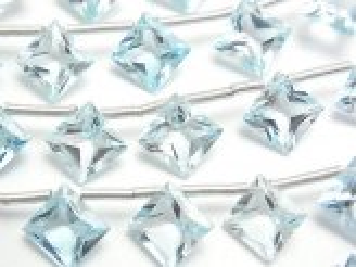 天然石卸 宝石質スカイブルートパーズAAA ダイヤ プリンセスカット11×11mm 半連/1連(10粒)