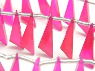 天然石卸 1連1,280円!宝石質フューシャピンクカルセドニーAAA フラット トライアングル20×6×3mm 【ダークカラー】 1連(10粒)