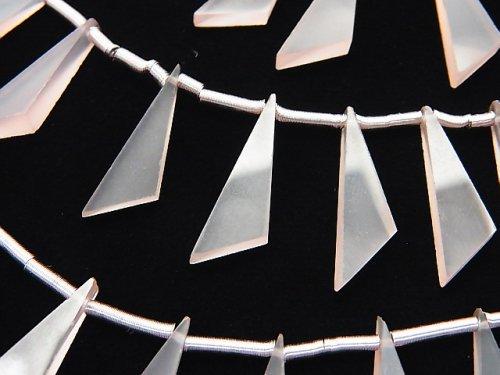宝石質ピンクカルセドニーAAA フラット トライアングル20×6×3mm 1連(8粒)