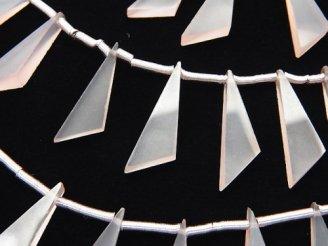 天然石卸 1連1,280円!宝石質ピンクカルセドニーAAA フラット トライアングル20×6×3mm 1連(8粒)