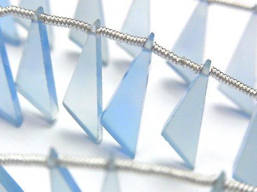 【動画】宝石質ブルーカルセドニーAAA フラット トライアングル20×6×3mm 1連(8粒)