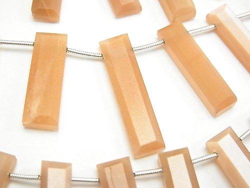 宝石質オレンジ〜ピーチムーンストーンAA+ 横穴レクタングルカット 1連(13粒)