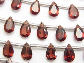 天然石卸 宝石質モザンビーク産ガーネットAAA ペアシェイプファセットカット8×5×3mm 半連/1連(20粒)