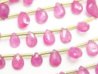 【動画】ビルマ産宝石質ピンクサファイアAAAA ペアシェイプ ブリオレットカット 【Mサイズ】 1連(約18cm)