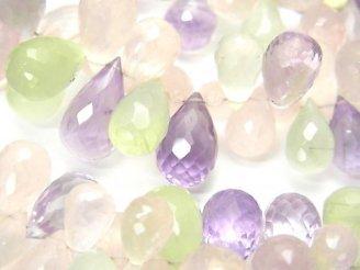天然石卸 宝石質いろんな天然石AAA- ドロップ ブリオレットカット 半連/1連(約18cm)