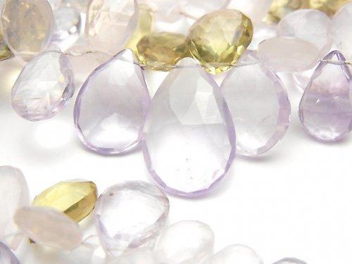 【動画】宝石質いろんな天然石AAA- ペアシェイプ ブリオレットカット 1連(約18cm)