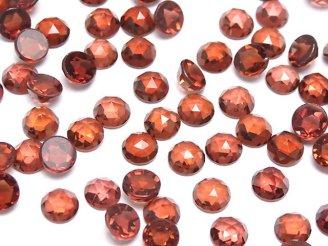 天然石卸 宝石質モザンビークガーネットAAA ラウンド型ローズカット4×4×2mm 10粒580円!