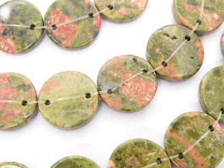 天然石卸 ユニカイト(ユナカイト) 2つ穴フラットコイン 【15mm】【20mm】 半連/1連(約36cm)