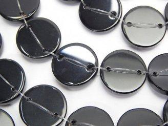 天然石卸 オニキスAAA 2つ穴フラットコイン【15mm】【20mm】 半連/1連(約36cm)