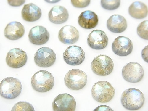 宝石質ラブラドライトAAA- ラウンド カボションローズカット6×6mm 10粒
