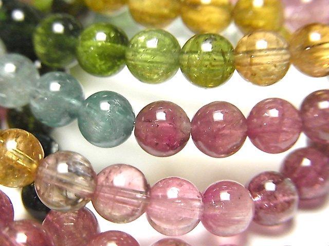 宝石質マルチカラートルマリンAAA ラウンド5.5mm 1連(ブレス)
