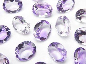 天然石卸 宝石質ピンクアメジストAAA 穴なしオーバルファセットカット11×9mm 5粒1,580円!