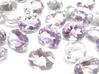 天然石卸 宝石質ピンクアメジストAAA 穴なしオーバルファセットカット12×10mm 5粒1,980円!