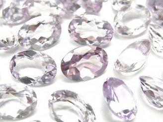 天然石卸 宝石質ピンクアメジストAAA 穴なしオーバルファセットカット14×10mm 3粒1,480円!
