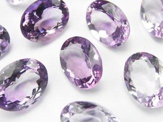 天然石卸 宝石質ピンクアメジストAAA 穴なしオーバルファセットカット16×12mm 3粒1,980円!