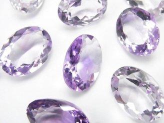 天然石卸 宝石質ピンクアメジストAAA 穴なしオーバルファセットカット18×13mm 3粒2,480円!