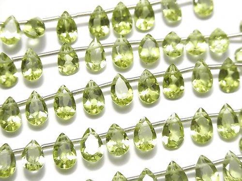 宝石質ペリドットAAA ペアシェイプファセットカット8×5mm 半連/1連(16粒)
