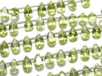 天然石卸 宝石質ペリドットAAA ペアシェイプファセットカット8×5×3mm 半連/1連(19粒)