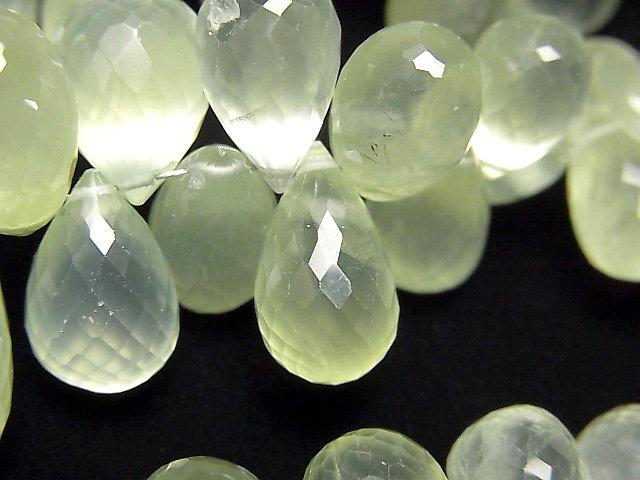 宝石質プレナイトAAA- 大粒ドロップ ブリオレットカット 半連/1連(約18cm)