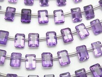 天然石卸 1連2,880円!宝石質アメジストAAA レクタングル ファセットカット7×5×3mm 1連(20粒)