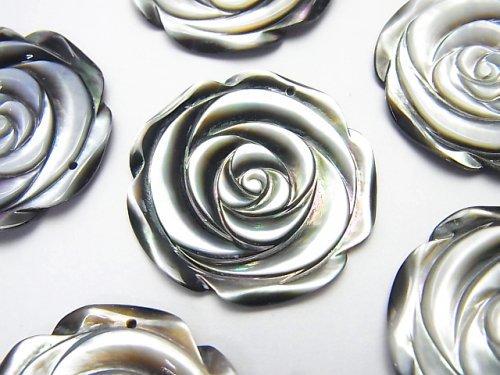ブラックシェル(黒蝶貝) 薔薇 30mm 1枚380円!