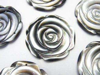 天然石卸 ブラックシェル(黒蝶貝) 薔薇 30mm 1枚380円!
