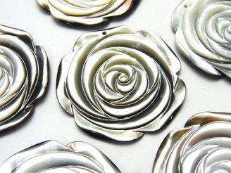 天然石卸 高品質ブラックシェル(黒蝶貝) 薔薇 35mm 1枚380円!