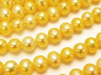 天然石卸 1連1,280円!淡水真珠AAA- ポテト6〜7mm パステルイエロー 1連(約36cm)