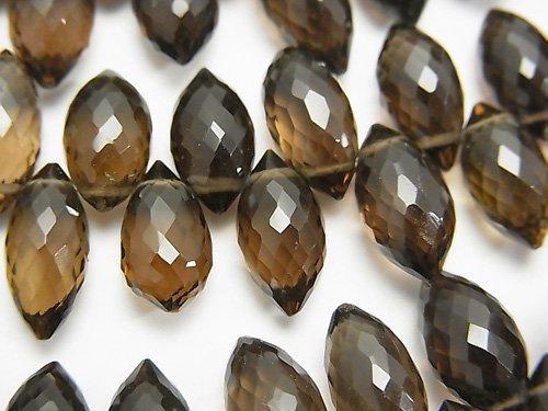 宝石質スモーキークォーツAAA マーキスライス ブリオレットカット 半連/1連(約12cm)