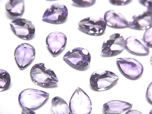 宝石質ピンクアメジストAAA 穴なしペアシェイプファセットカット7×5mm 10粒
