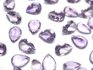 天然石卸 宝石質ピンクアメジストAAA 穴なしペアシェイプファセットカット7×5mm 10粒680円!