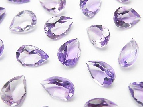 【動画】宝石質ピンクアメジストAAA 穴なしペアシェイプファセットカット9×6mm 10粒