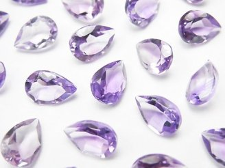 天然石卸 宝石質ピンクアメジストAAA 穴なしペアシェイプファセットカット9×6mm 10粒1,180円!